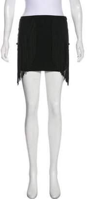 Torn By Ronny Kobo Fringe Mini Skirt