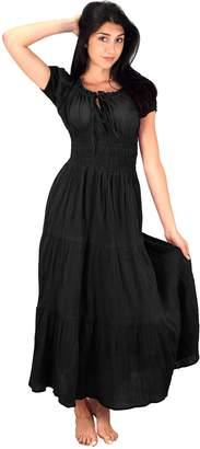 Couture Peach Gypsy Boho Cap Sleeves Smocked Waist Tiered Renaissance Maxi Dress
