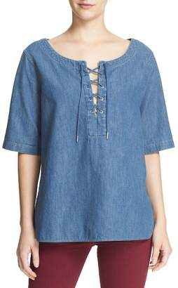 Rag & Bone Lace-Up Chambray Top