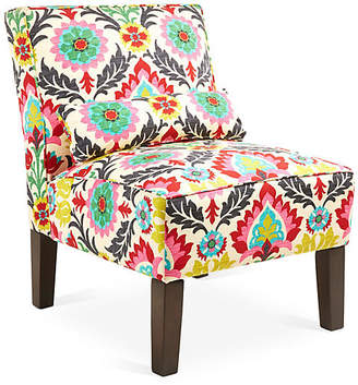 One Kings Lane Bergman Armless Accent Chair - Pink/Yellow