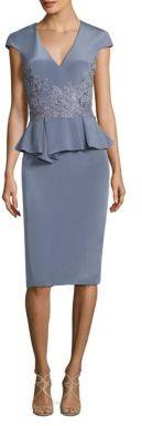 Theia Stretch-Silk Peplum Sheath Dress $695 thestylecure.com
