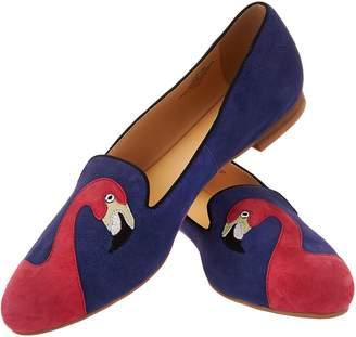 C. Wonder Flamingo Emboidered Suede Loafers - Caroline