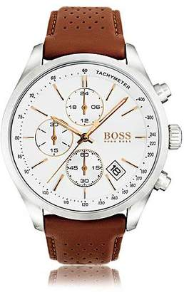 HUGO BOSS Polished stainless-steel sportswatch with white dial and perforated leather strap