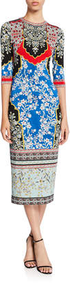 Alice + Olivia Delora Printed Crewneck 3/4-Sleeve Fitted Midi Dress