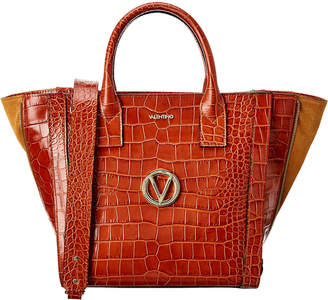 Mario Valentino Valentino By Charmont Croc-Embossed Leather & Suede Tote