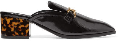 Stella McCartney - Embellished Faux Glossed-leather Slippers - Black