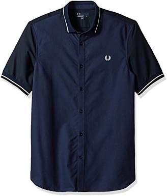 Fred Perry Knitted Collar Oxford Cotton Short Sleeve Shirt