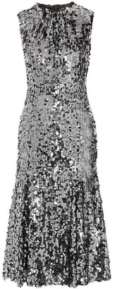 Dolce & Gabbana - Sequined Tulle Midi Dress - Gunmetal $4,595 thestylecure.com