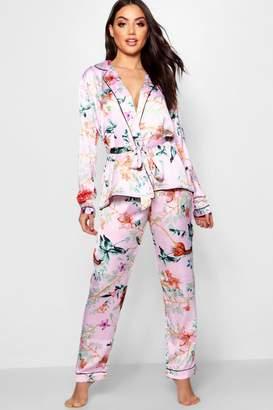 boohoo Oriental Floral Wrap Front Belted PJ Set