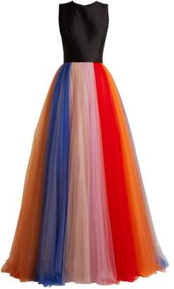 Carolina Herrera Silk Faille And Tulle Striped Gown - Womens - Black Multi