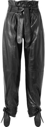 Tie-detailed Belted Leather Straight-leg Pants - Black