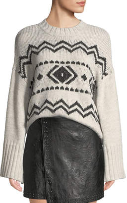 Cupcakes And Cashmere Harden Jacquard Graphic Pullover Sweater