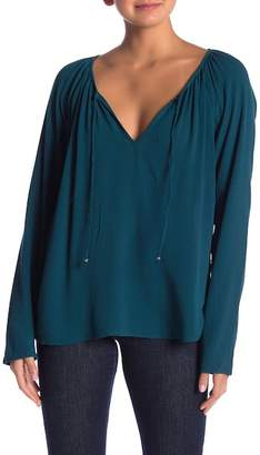 Love Stitch Tie Front Long Sleeve Top