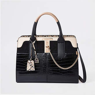 River Island Womens Black croc detail lock front tote bag