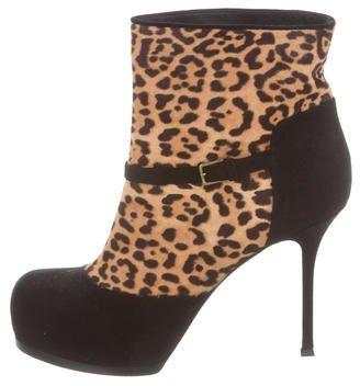 Saint LaurentYves Saint Laurent Ponyhair & Suede Ankle Boots
