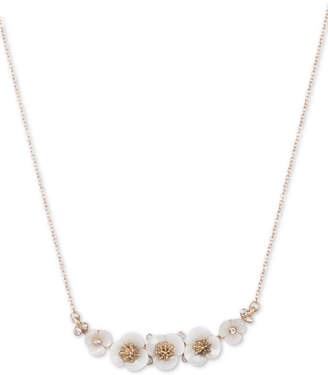 """lonna & lilly Gold-Tone Crystal & Imitation Mother-of-Pearl Flower Collar Necklace, 16"""" + 3"""" extender"""