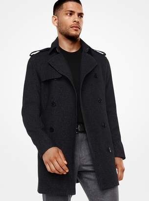Michael Kors Houndstooth Wool-Blend Trench Coat