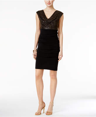 Connected Sequined Metallic Cowl-Neck Sheath Dress $79 thestylecure.com