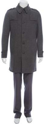 John Varvatos Herringbone Wool Overcoat w/ Tags