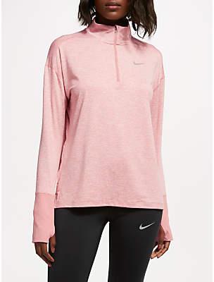 Nike Dry Element 1/2-Zip Long Sleeve Running Top, Rust Pink/Heather