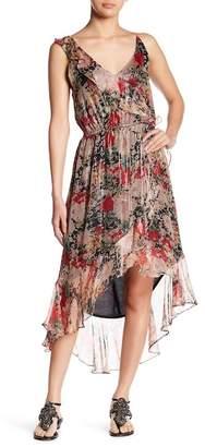Love Sam Paris Ruffle Trim Printed Hi-Lo Maxi Dress