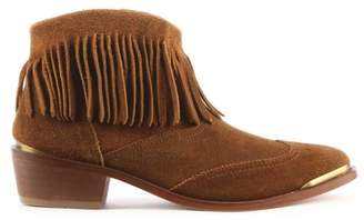 Hudson Tala Tan Suede Fringe Western Ankle Boot