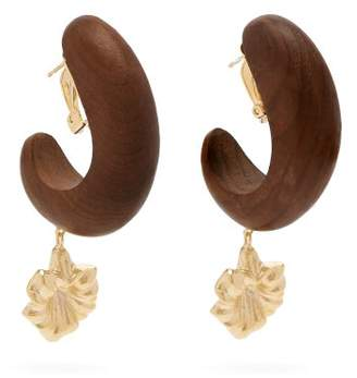 Vanda Jacintho - Wooden Ring Flower Drop Earrings - Womens - Gold