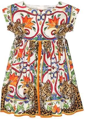 Dolce & Gabbana Maiolica & Leopard Cotton Poplin Dress