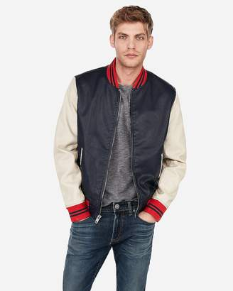 Express Minus The) Leather Color Block Varsity Bomber