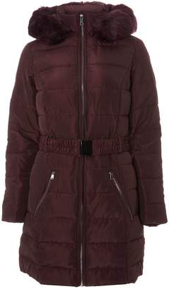 Dorothy Perkins Womens Burgundy Luxe Belted Padded Coat