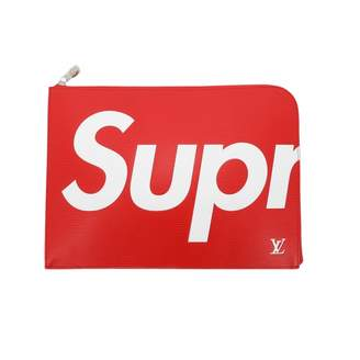 Louis Vuitton X Supreme Red Leather Clutch Bag