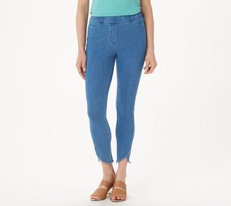 Isaac Mizrahi Live! Tall Knit Denim Tulip Hem Ankle Jeans