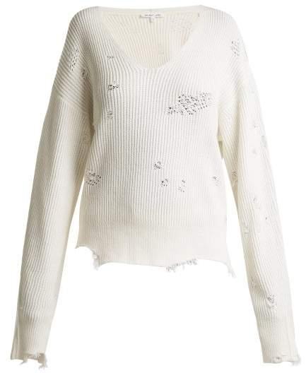 Distressed V-neck cotton-blend sweater