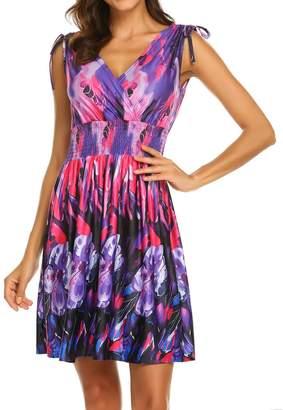 LuckyMore Womens Plus Size Knee Length Summer Casual Beach Vacation Dress XXL