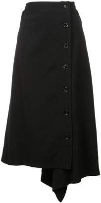 Y's asymmetric buttoned skirt