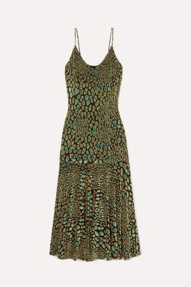 Caroline Constas Kai Metallic Leopard-print Fil Coupé Stretch-jersey Midi Dress - Army green