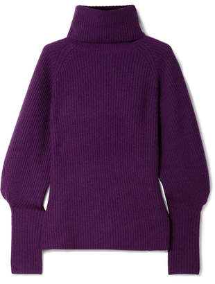 Altuzarra Arrow Ribbed Cashmere Turtleneck Sweater - Dark purple