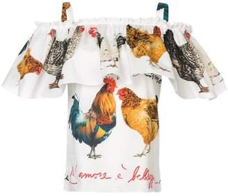 Dolce & Gabbana rooster print cold shoulder top