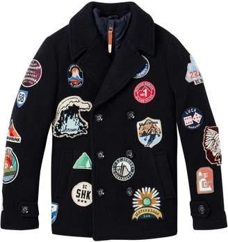 Scotch & Soda Badge Artwork Pea Coat