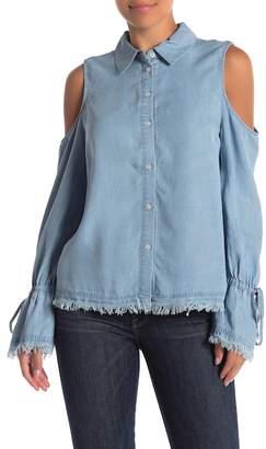 Velvet Heart Aerona Frayed Cold Shoulder Chambray Shirt