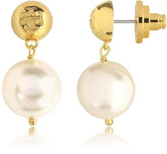 Tory Burch Ivory Crystal Pearl and Tory Gold Brass Drop Earrings