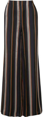 Roksanda Arneau Striped Satin Wide-leg Pants - Midnight blue