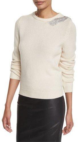 BA&SHba&sh Over Embellished Crewneck Sweater