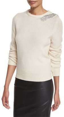 ba&sh Over Embellished Crewneck Sweater $430 thestylecure.com