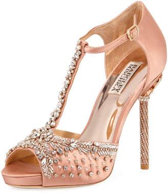 Badgley Mischka Stacey Embellished T-Strap Sandals