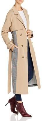 Glamorous Plaid-Panel Trench Coat - 100% Exclusive