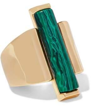 Ben-Amun Gold-Tone Malachite Ring