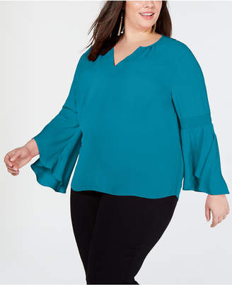 INC International Concepts I.n.c. Plus Size Bell-Sleeve Top
