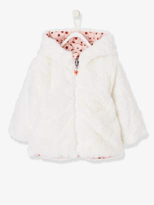 Vertbaudet Reversible Coat with Fur and Flowers for Baby Girls
