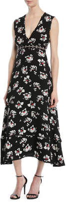 Proenza Schouler V-Neck Sleeveless Floral-Print Fit-and-Flare Midi Dress